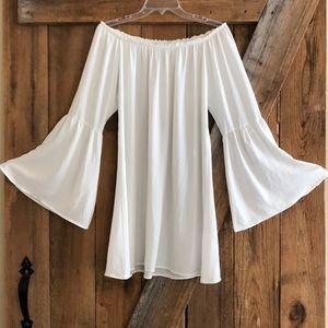 White, off the shoulder dress